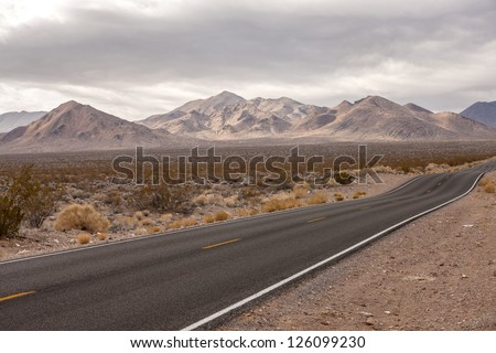 Grapevine Mountains, view from Highway 374 - stock photo