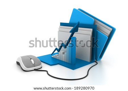 graph and chart in folder - stock photo