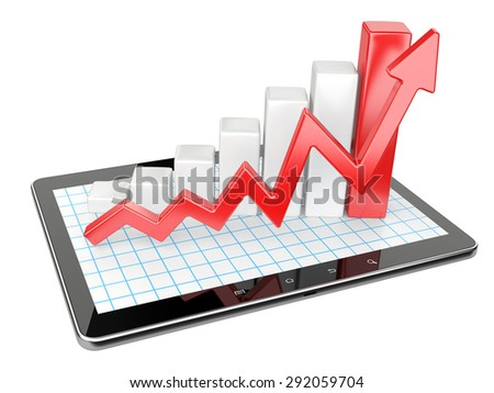 Graph and chart on tablet pc - Business statistic concept. 3d image isolated on a white background - stock photo