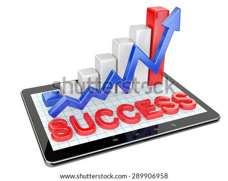 Graph and chart on tablet pc - Success concept. 3d image isolated on a white background - stock photo