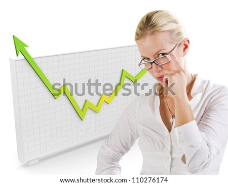 Graph behind a woman showing growth