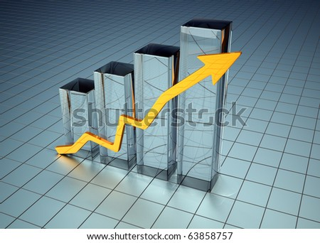 Graph business - this is a 3d render illustration - stock photo