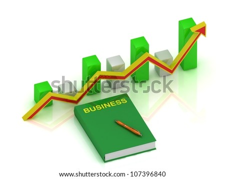 Graph changes with an yellow-red arrow and book business, pen - stock photo