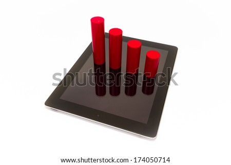 Graph Chart popping out from a Tablet - stock photo