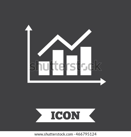 Graph chart sign icon. Diagram symbol. Statistics. Graphic design element. Flat chart symbol on dark background.