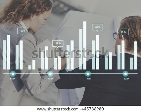 Graph Data Analysis Research Report Statistics Growth Chart Concept - stock photo