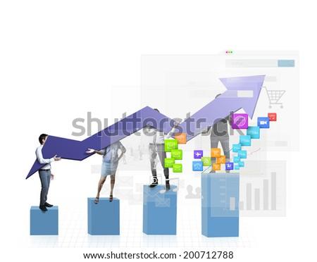 graph ,Diagram of business success  - stock photo