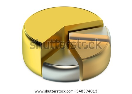 Graph diagram pie chart 3d isolated on  white background