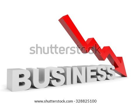 Graph down business arrow. 3D illustration. - stock photo