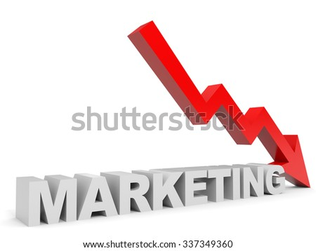 Graph down marketing arrow. 3D illustration. - stock photo
