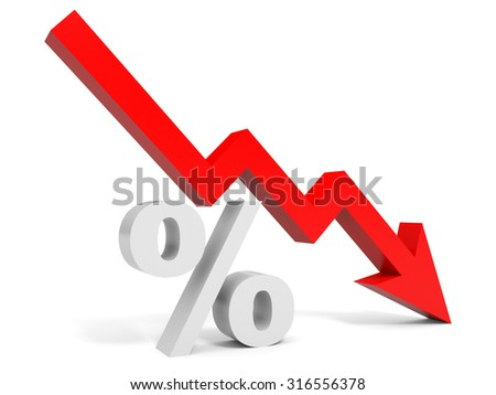 Graph down percent sign arrow. 3D illustration.