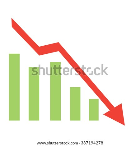 graph down red flat raster illustration
