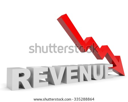 Graph down revenue arrow. 3D illustration. - stock photo