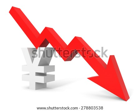 Graph down yena sign arrow. 3D illustration. - stock photo