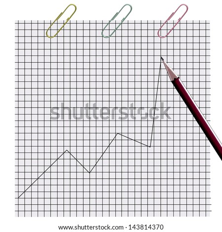 Graph. Drawing on a sheet of paper. Illustration. - stock photo