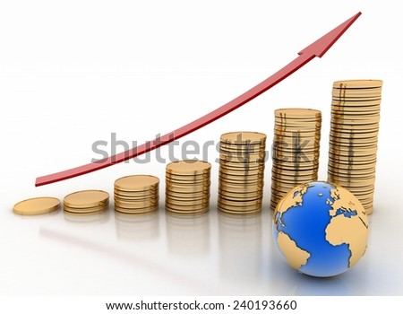 Graph from coins with arrow and globe. Global success concept. 3d render illustration on white background. - stock photo