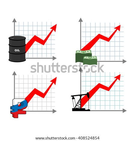 Graph growth of wealth set. Red up arrow. Increased profits of oil sales. Barrel of petrol. Growth rate of ruble. Russian national currency. Increased production petroleum rig. Increase  amount cash
