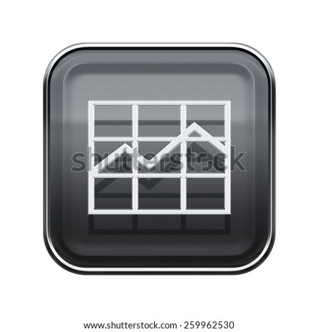 graph icon glossy grey, isolated on white background. - stock photo