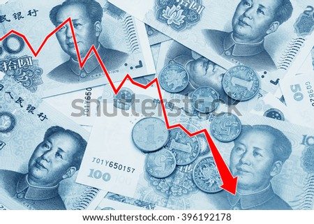 Graph illustrating the decline of the Chinese Yuan or RMB on the international market over a collage of Chinese money - stock photo