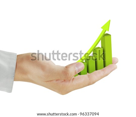 graph in hand business - stock photo