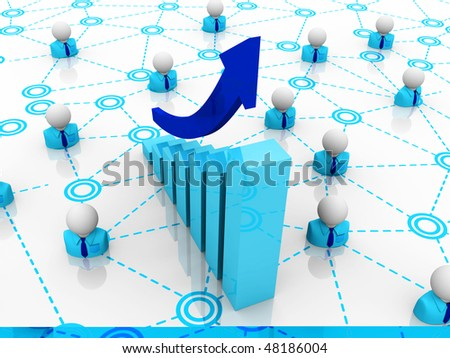 graph in office and characters - stock photo