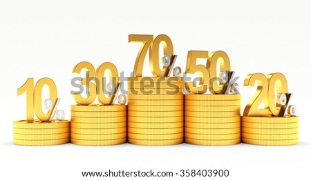 Graph of golden coins with various percent discount isolated on white background