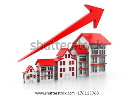 Graph of housing market - stock photo
