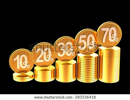 Graph of stacks of golden coins with various percent discount isolated on black background