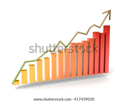 Graph of successful growth of business  - stock photo