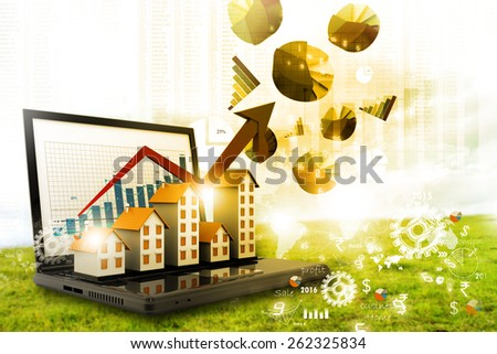Graph of the housing market - stock photo