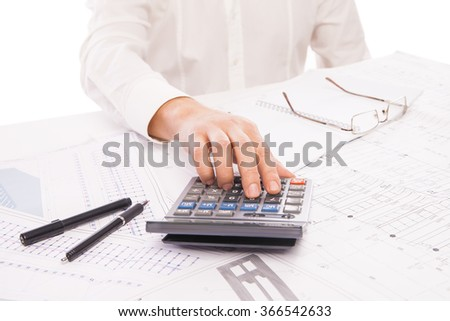graph on background of businessman hands with pens