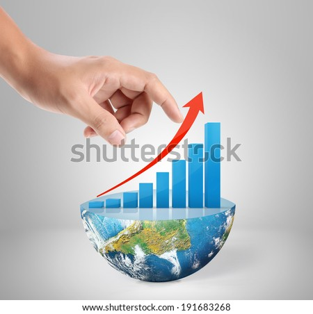Graph on hand, local businessmen ,Some components of this image are provided courtesy of NASA  - stock photo