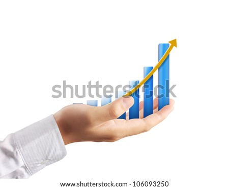 Graph on hand on white background - stock photo