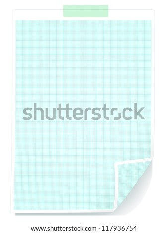 graph paper on white background - stock photo