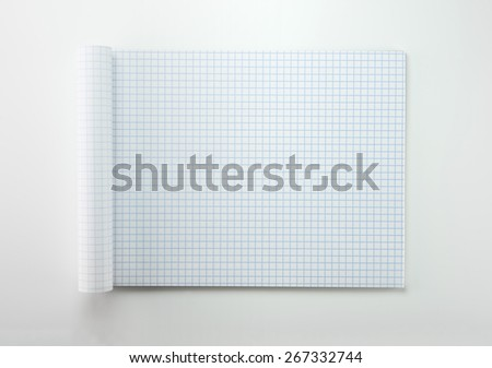Graph paper with rolled front pages, on natural white background - stock photo