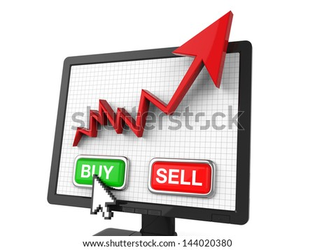 Graph Screen with Buy and Sell Button - stock photo
