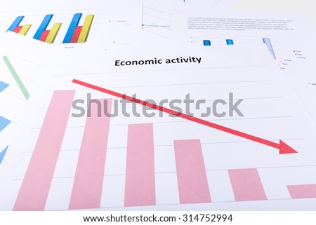 Graph showing economy decline - stock photo