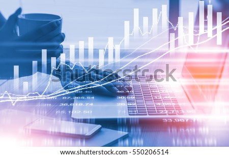 Graph stock market indicator financial forex trade. Forex trade indicator front stock market financial trade graph background. Forex and stock market technology abstract financial indicator background