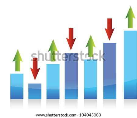 graph up and down arrows illustration design - stock photo