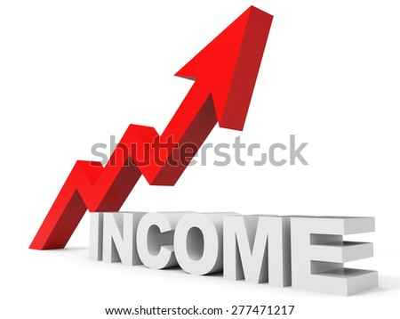 Graph up income arrow. 3D illustration.