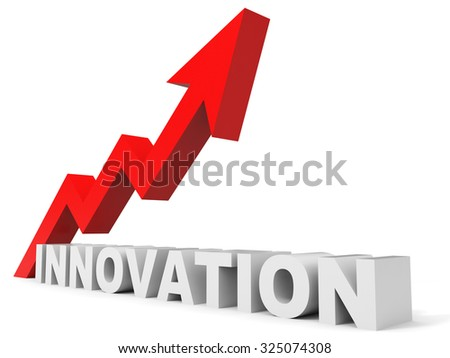 Graph up innovation arrow. 3D illustration.