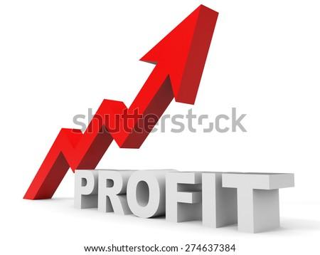 Graph up profit arrow. 3D illustration. - stock photo