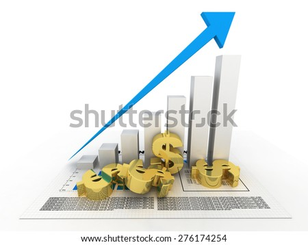 Graph with currency - stock photo