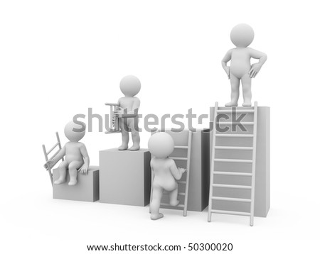 graph with four columns and characters - stock photo