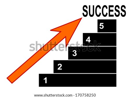 Graph with numbers, arrows and lettering success - illustration - stock photo