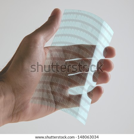 Graphene application with binary numbers.  - stock photo