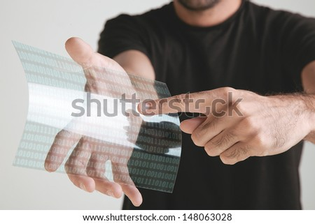 Graphene application with binary numbers concept.  - stock photo