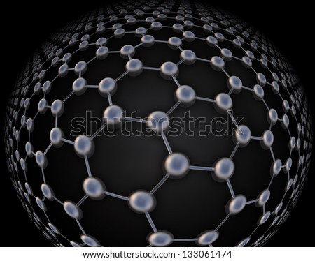 Graphene atomic structure - nanotechnology background illustration - stock photo