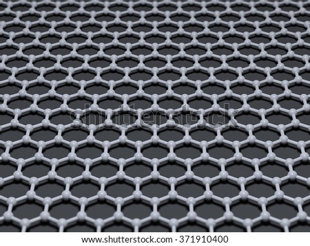 Graphene crystal atomic lattice background. 3D illustration