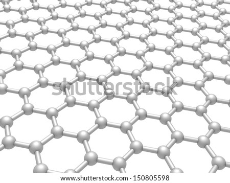 Graphene layer structure schematic model. 3d render illustration isolated on white - stock photo